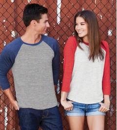 T-shirt unisexe tri-blend à manches raglan 3/4